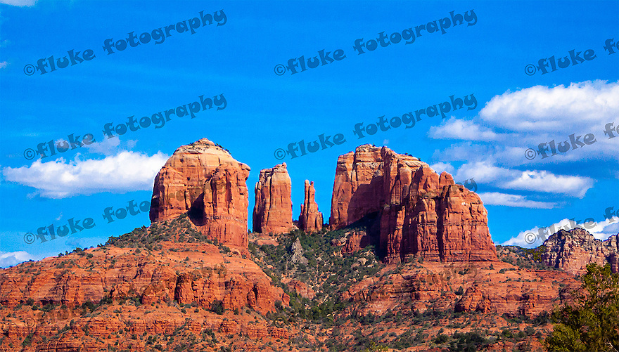 "Cathedral Rock, captured during late May 2009, traveling North on Interstate 17 between Phoenix and Flagstaff, Arizona.  20"" x 11"".  Limited Edition of 25."