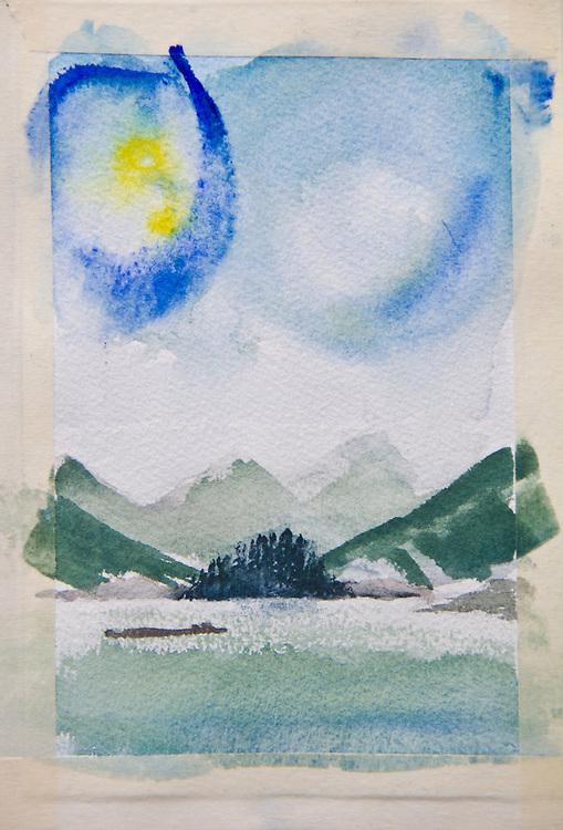 Kyuquot Sound, watercolor, Journal Art 2004,