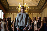 © Joel Goodman - 07973 332324 . 25/04/2015 . Manchester , UK . Men's hopeful , Coden Marshall (20 from Salford) (centre) watches the women's preparations . Rehearsals for hopefuls of this year's Mr and Miss Manchester pageant , at the Palace Hotel , Manchester . Photo credit : Joel Goodman