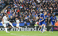 Ashley Williams of Swansea City has a shot during the Barclays Premier League match between Leicester City and Swansea City played at The King Power Stadium, Leicester on April 24th 2016