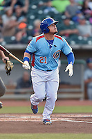 Tennessee Smokies first baseman Dan Vogelbach (21) swings at a pitch during a game against the Chattanooga Lookouts on April 25, 2015 in Kodak, Tennessee. The Smokies defeated the Lookouts 16-10. (Tony Farlow/Four Seam Images)