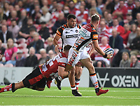 24th September 2021;  Kingsholm Stadium, Gloucester, England; Gallaher Premiership Rugby, Gloucester Rugby versus Leicester Tigers: Freddie Steward of Leicester Tigers offloads out of the tackle