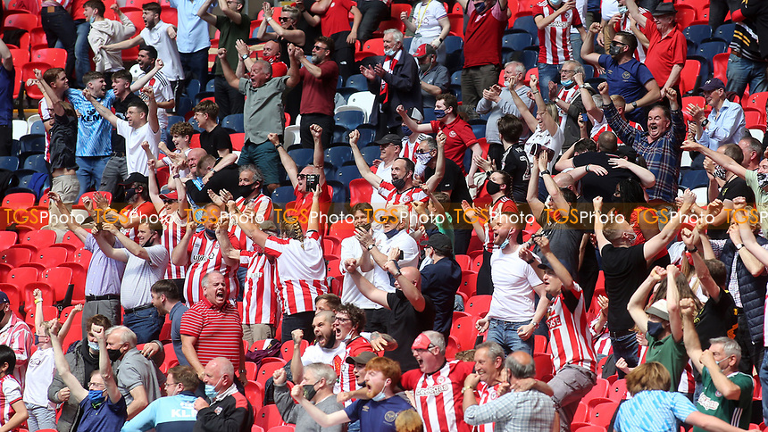 Brentford fans celebrate their second goal during Brentford vs Swansea City, Sky Bet EFL Championship Play-Off Final Football at Wembley Stadium on 29th May 2021