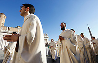 Priests arrive to attend a canonization ceremony celebrated by the Pope in St. Peter's Square at the Vatican, October 15, 2017. The pontiff canonized Italian Capuchin priest  Angelo of Acri, Spanish priest Faustino Miguez, the Child Martyrs of Tlaxcala, (Mexico) Cristobal, Antonio and Juan, and the Martyrs of Natal, Jesuit priest Andre de Soveral, diocesan priest Ambrosio Francisco Ferro, layman Mateus Moreira and 27 others, killed in 1645 in an anti-Catholic persecution carried out by Dutch Calvinists in Natal, Brazil. <br /> UPDATE IMAGES PRESS/Riccardo De Luca<br /> <br /> STRICTLY ONLY FOR EDITORIAL USE