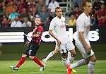Spartak Trnava v St Johnstone...07.08.14  Europa League Qualifier 3rd Round<br /> Stevie May's deflected shot makes it's way into the net to make it 1-0<br /> Picture by Graeme Hart.<br /> Copyright Perthshire Picture Agency<br /> Tel: 01738 623350  Mobile: 07990 594431