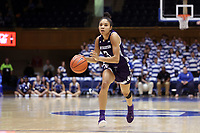 DURHAM, NC - NOVEMBER 17: Sydney Wood #3 of Northwestern University dribbles the ball during a game between Northwestern University and Duke University at Cameron Indoor Stadium on November 17, 2019 in Durham, North Carolina.