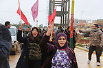 26/2/2015--Kobane,Syria-- A group of people are going to burry 8 YPG's fighters body in the cemetery in Kobane