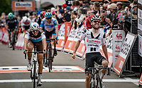 Marc Hirschi (SUI/Sunweb) is the strongest sprinting over the finish line up the infamous Mur de Huy<br /> <br /> 84th La Flèche Wallonne 2020 (1.UWT)<br /> 1 day race from Herve to Mur de Huy (202km/BEL)<br /> <br /> ©kramon