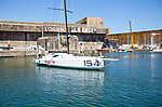"""Launch of the Lift 40 ( Class 40 ) """"Black Mamba"""" for the skipper Yoann Richomme before the Route du Rhum 2018 built at Gepeto Composite and designed by Marc Lombard Yacht Design Group, Lorient Keroman Submarine Base, Brittany, France."""