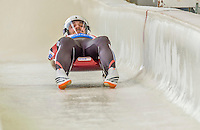 5 December 2014: Inars Kivlenieks, sliding for Latvia, crosses the finish line on his first run, ending the day with a 20th place finish and a combined 2-run time of 1:44.364 in the Men's Competition at the Viessmann Luge World Cup, at the Olympic Sports Track in Lake Placid, New York, USA. Mandatory Credit: Ed Wolfstein Photo *** RAW (NEF) Image File Available ***