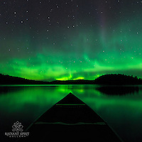 """""""Canoeing Under the Aurora""""<br /> Canoeing under a star-filled sky splashed with the aurora is one of the most enjoyable and memorable experiences of a wilderness canoe trip. ~ Day 191 of Inspired by Wilderness: A Four Season Solo Canoe Journey."""