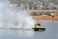 Nov. 22, 2008; Chandler, AZ, USA; Top fuel hydro driver James Ray prior to crashing during qualifying for the Napa Auto Parts World Finals at Firebird Lake. Ray was okay in the accident and was transported to a local hospital for further evaluation. Mandatory Credit: Mark J. Rebilas-