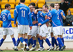 St Johnstone v Dunfermline....25.02.12   SPL.Callum davidson is mobbed after his goal.Picture by Graeme Hart..Copyright Perthshire Picture Agency.Tel: 01738 623350  Mobile: 07990 594431