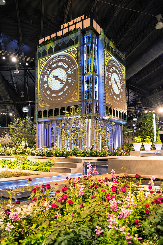 Big Ben motif is the center piece of the Philadelphia flower show 2013 which showcased British culture