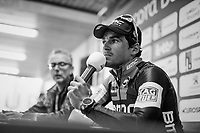 Greg Van Avermaet (BEL/BMC) at the winners post-race press conference<br /> <br /> 60th E3 Harelbeke (1.UWT)<br /> 1day race: Harelbeke › Harelbeke - BEL (206km)