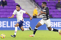 ORLANDO CITY, FL - JANUARY 31: Jesus Ferreira #9 of the United States moves with the ball during a game between Trinidad and Tobago and USMNT at Exploria stadium on January 31, 2021 in Orlando City, Florida.