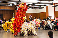 Dragon dancers perform at the Lunar New Year event at the San Leandro Library, San Leandro California.