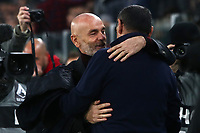 Calcio, Serie A: Juventus - AC Milan, Turin, Allianz Stadium, November 10, 2019.<br /> Juventus' coach Maurizio Sarri (r) greets Milan's coach Stefano Pioli (l) in action with during the Italian Serie A football match between Juventus and Milan at the Allianz stadium in Turin, November 10, 2019.<br /> UPDATE IMAGES PRESS/Isabella Bonotto