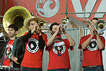 The Barry Horns - an eleven-piece brass band, made up of fans of the Welsh national football team. They formed in 2011 and the band's name is a homage to retired Welsh footballer Barry Horne. Wales v Norway Vauxhall international friendly match at the Cardiff City Stadium in South Wales..Editorial use only.