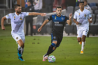 SAN JOSE, CA - SEPTEMBER 13: Vako Qazaishvili #11 of the San Jose Earthquakes evades Perry Kitchen #2 of the LA Galaxy during a game between Los Angeles Galaxy and San Jose Earthquakes at Earthquakes Stadium on September 13, 2020 in San Jose, California.