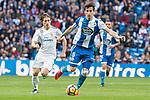 Real Madrid Luka Modric and R.C. Deportivo Pedro Mosquera during La Liga match between Real Madrid and R. C. Deportivo at Santiago Bernabeu Stadium in Madrid, Spain. January 18, 2018. (ALTERPHOTOS/Borja B.Hojas)