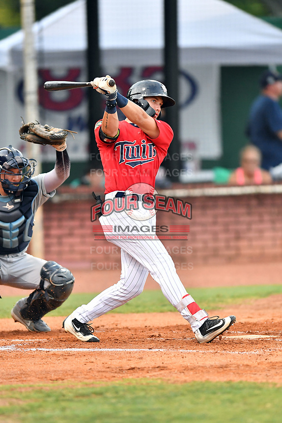 Elizabethton Twins right fielder DaShawn Keirsey (8) swings at a pitch during game two of the Appalachian League Championship Series against the Princeton Rays at Joe O'Brien Field on September 5, 2018 in Elizabethton, Tennessee. The Twins defeated the Rays 2-1 to win the Appalachian League Championship. (Tony Farlow/Four Seam Images)