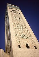 Casablanca, Morocco - Minaret of the Hassan II Mosque.