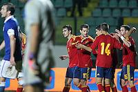 """Esultanza Spagna.Siena 13/11/2012 Stadio """"Franchi"""".Football Calcio Nazionale U21.Italia v Spagna.Foto Insidefoto Paolo Nucci."""