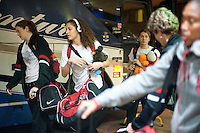 NORFOLK, VA--The Stanford Cardinal gather their bags upon arrival at the Sheraton hotel in Norfolk, VA, where they will play the first round of the 2012 NCAA tournament.