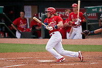 St. Louis Cardinals Harrison Bader (48) bats during a Major League Spring Training game against the Houston Astros on March 20, 2021 at Roger Dean Stadium in Jupiter, Florida.  (Mike Janes/Four Seam Images)