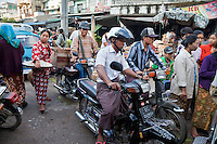 Myanmar, Burma.  Mandalay Market Street Scene.