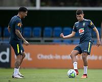 10th November 2020; Granja Comary, Teresopolis, Rio de Janeiro, Brazil; Qatar 2022 qualifiers; Allan and Bruno Guimaraes of Brazil during training session in Granja Comary
