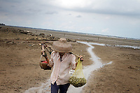 A woman returns from collecting seafood in the mangroves of the Leizhou Peninsula, Guangdong Province. Illegal seafood collection causes damage to the remaining mangroves of the region. Over the past century, the world has lost over 50% of its coastal mangroves. They have been cleared mainly to make way for commercial shrimp and fish farms. The unique trees which live in salt water are valued for the ability to protect shorelines and are home to a diverse array of flora and fauna. 2010