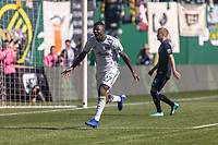 Portland, Oregon - Sunday October 6, 2019: Dairon Asprilla #27 celebrates scoring a goal to make it 2-1 Portland during a regular season match between Portland Timbers and San Jose Earthquakes at Providence Park in Portland, Oregon.