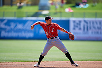 Anthony Phillips (18) of the Albuquerque Isotopes during the game against the Salt Lake Bees at Smith's Ballpark on April 22, 2018 in Salt Lake City, Utah. The Bees defeated the Isotopes 11-9. (Stephen Smith/Four Seam Images)