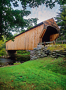 Corbin Covered Bridge in Newport, New Hampshire.  This street bridge crosses the Sugar River.