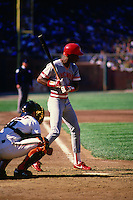 SAN FRANCISCO, CA - Eric Davis of the Cincinnati Reds bats during a game against the San Francisco Giants at Candlestick Park in San Francisco, California in 1987. Photo by Brad Mangin