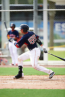 GCL Red Sox catcher Samuel Miranda (55) at bat during the first game of a doubleheader against the GCL Rays on August 9, 2016 at JetBlue Park in Fort Myers, Florida.  GCL Rays defeated GCL Red Sox 5-4.  (Mike Janes/Four Seam Images)