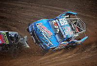 Dec. 11, 2011; Chandler, AZ, USA; LOORRS pro two unlimited driver Robby Woods (right) flips after making contact with Todd LeDuc during the Lucas Oil Challenge Cup at Firebird International Raceway. Mandatory Credit: Mark J. Rebilas-