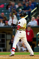 Rochester Red Wings Tres Barrera (13) bats during a game against the Worcester Red Sox on September 2, 2021 at Frontier Field in Rochester, New York.  (Mike Janes/Four Seam Images)