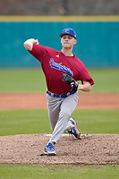 Pitcher Alex Flood (38) of the Presbyterian College Blue Hose in a game against the University of South Carolina Upstate Spartans on Tuesday, March 23, 2021, at Cleveland S. Harley Park in Spartanburg, South Carolina. (Tom Priddy/Four Seam Images)