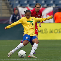 Brazilian midfielder Francielle (17) passes the ball. In an international friendly, Canada defeated Brasil, 2-1, at Gillette Stadium on March 24, 2012.