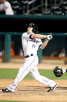 Logan Forsythe #11 of the Tucson Padres plays in a Pacific Coast League game against the Fresno Grizzlies at Kino Stadium on April 20, 2011  in Tucson, Arizona. .Photo by:  Bill Mitchell/Four Seam Images.