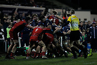 Match action during the Greene King IPA Championship match between London Scottish Football Club and Hartpury RFC at Richmond Athletic Ground, Richmond, United Kingdom on 11 January 2019. Photo by Carlton Myrie / PRiME Media Images