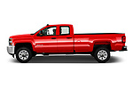 Car driver side profile view of a 2018 Chevrolet Silverado 2500HD Work Truck Long Box Double Cab 4 Door Pick Up