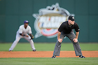 Second base umpire Jonathan Bailey during the International League game between the Louisville Bats and the Charlotte Knights at BB&T BallPark on May 12, 2015 in Charlotte, North Carolina.  The Knights defeated the Bats 4-0.  (Brian Westerholt/Four Seam Images)