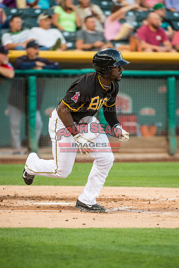 Jared Mitchell (13) of the Salt Lake Bees at bat against the Tacoma Rainiers in Pacific Coast League action at Smith's Ballpark on September 2, 2015 in Salt Lake City, Utah. Tacoma defeated Salt Lake 13-6. (Stephen Smith/Four Seam Images)
