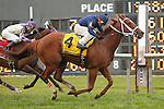 September 3, 2012. Inspired, ridden by Roberto Alvarado Jr. and trained by Allen Iwinski, wins the Turf Amazon Handicap at Parx Racing. (Joan Fairman Kanes/Eclipse Sportswire)