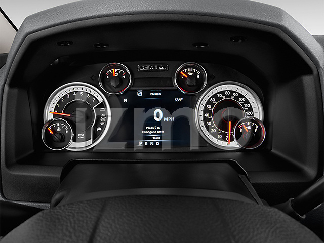 Instrument panel close up detail view of a 2013 Dodge RAM 1500 Big Horn Crew Cab