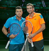 12-02-14, Netherlands,Rotterdam,Ahoy, ABNAMROWTT, Jo-Wilfried Tsonga(FRA) and Marin Cilic(KRO)<br /> Photo:Tennisimages/Henk Koster